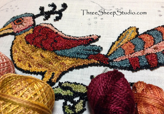 1787 Fraktur Punch Needle Design by Rose Clay at ThreeSheepStudio.com