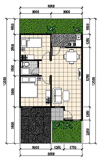 Desain Rumah Minimalis 2 Lantai 6x12 Gambar Ukuran