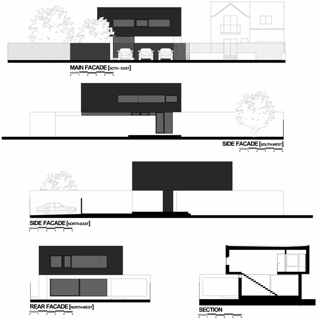 Facade drawings of the Black On White House by Parasite Studio