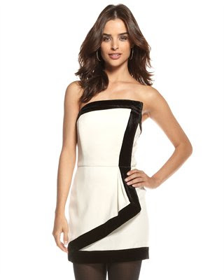 Tuxedo Velvet-Trim Dress