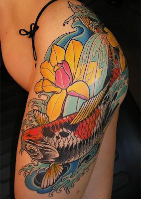 Tatuagens de Carpa na Coxa