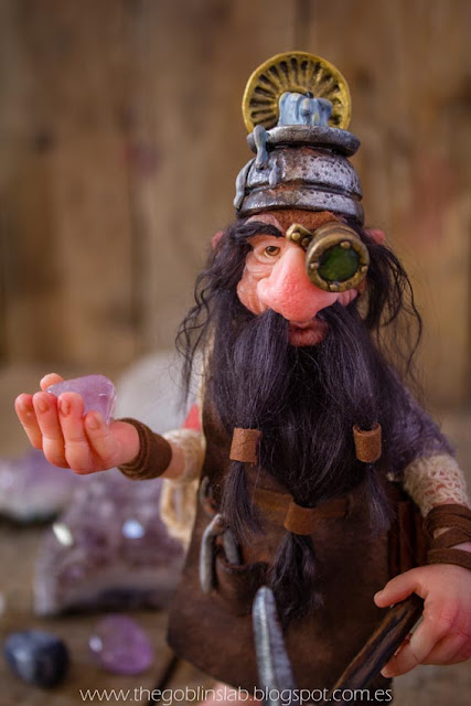 ooak fantasy clay doll lucky dwarf