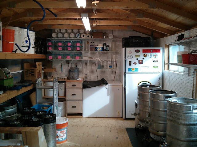 Inside the beer shed