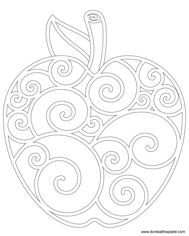 Apple Themed Coloring Pages : Don t eat the paste apple coloring page