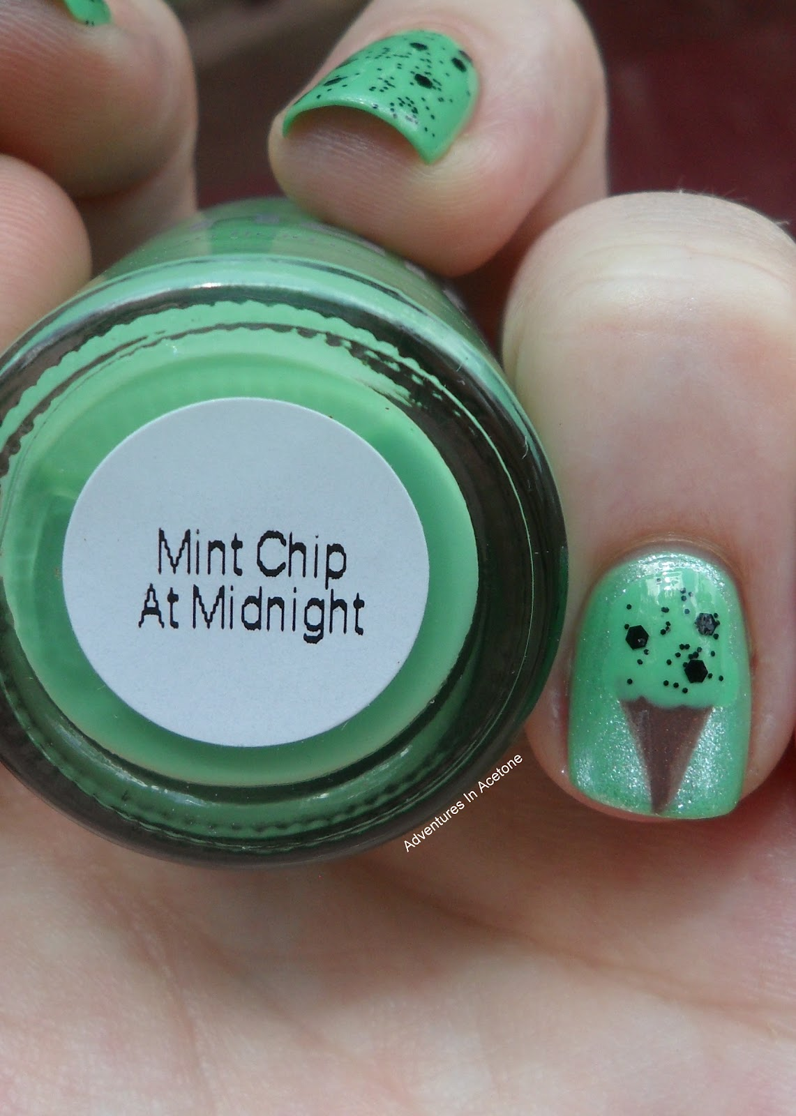 Knocked Up Nails: Mint Chip At Midnight - Adventures In Acetone