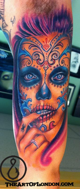 Gallery funny game day of the dead gypsy skull tattoo for Day of the dead skull tattoo