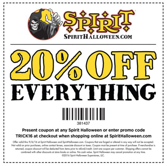 Spirit halloween 20 off coupon 2018