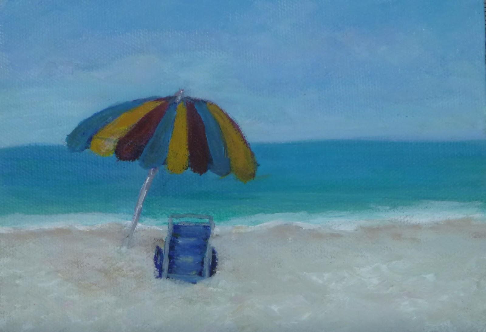 Beach chairs on the beach painting - Beach Chair Painting