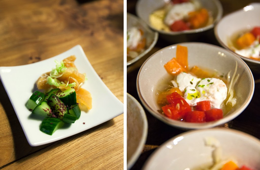 Dishes at Jesse Koide's Pink Zebra SF pop-up in Copenhagen