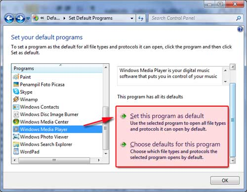 Set this program sebagai Default program