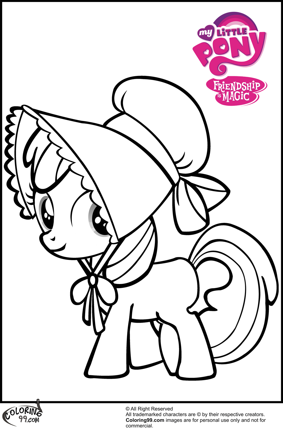 My little pony coloring pages scootaloo - Apple Bloom In Classic Outfits Coloring Pages