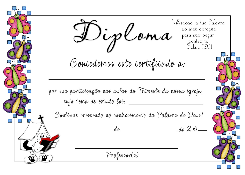 Conhecido Dicas Escola Dominical: Diplomas Escola Bíblica Dominical FL09