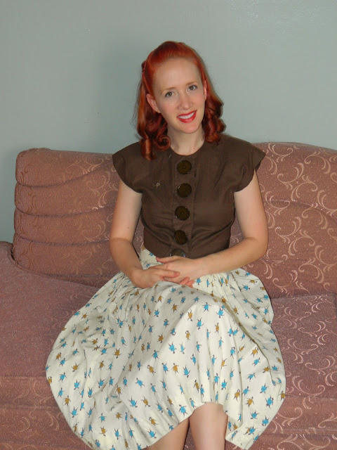 1940s 1950s cropped top novelty print circle skirt Just Peachy, Darling