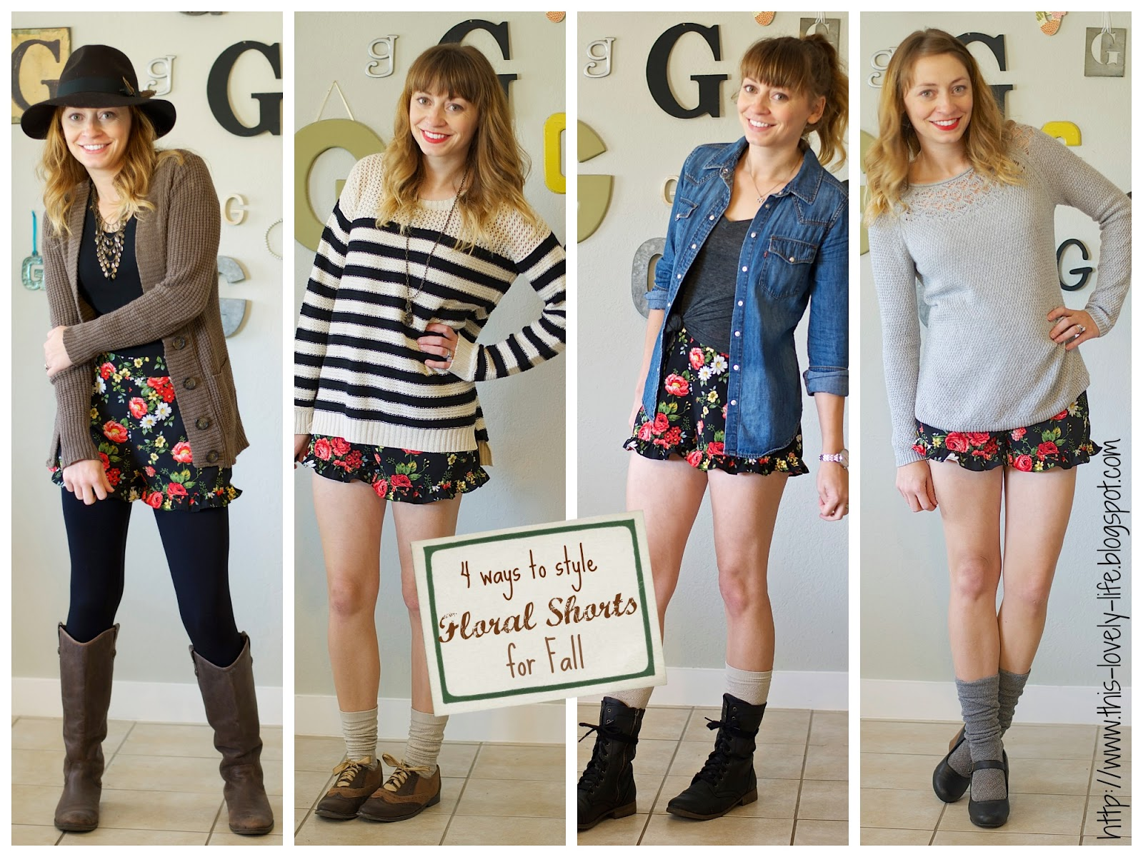 Transition floral shorts for fall