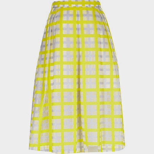 river island yellow check skirt,