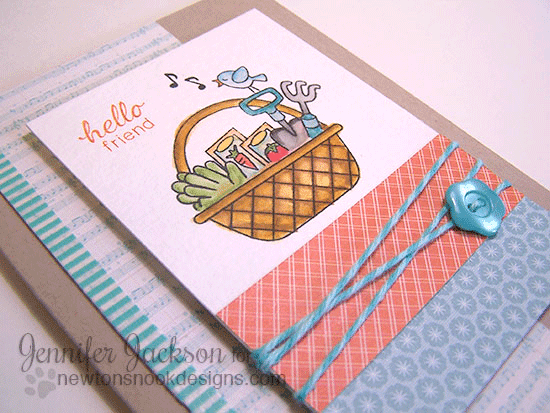 Spring Garden Basket Card  by Jennifer Jackson | Basket of Wishes Stamp set by Newton's Nook Designs