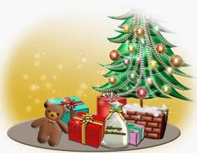 クリスマスのイラスト無料・ツリーの周りのクリスマスプレゼント