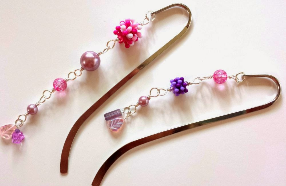 Funky sparkly bookmarks (glass pearls, lucite, silver-tone bookmark, silver plated wire) by All Pretty Things