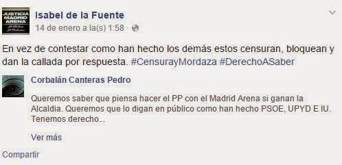 Isabel de la Fuente, Cristina Arce de la Fuente, bloqueo, Facebook