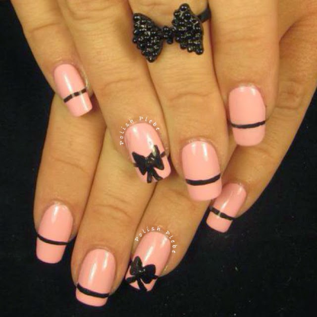 Nails Art Vintage Black Bow Nail Art Design