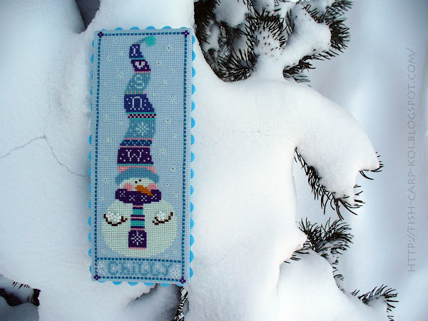 Snowman Trio - Michelle Lutzen - Stitchy Kitty Вышивка крестом - Снеговички Chilly Оформление - Пинкип Светится в темноте