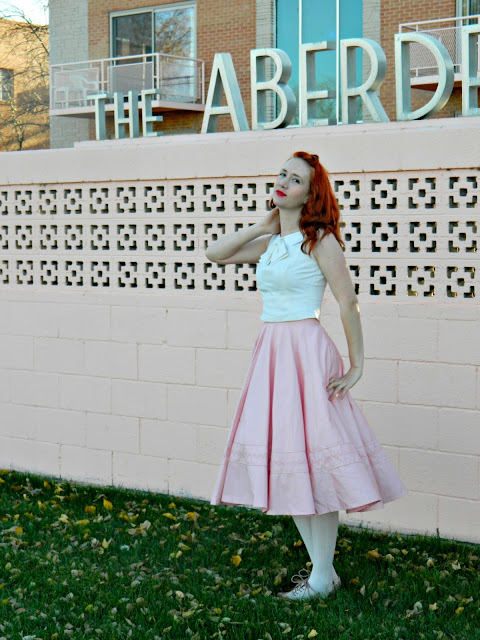 bow cropped top 1950s pink circle skirt spectators saddle shoes vintage Pueblo, CO Just Peachy, Darling