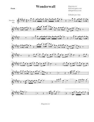 Partitura Wonderwall de Oasis para SAXOFÓN ALTO sheet music alto saxopohone