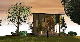 お庭にデッキ付きガーデンハウス