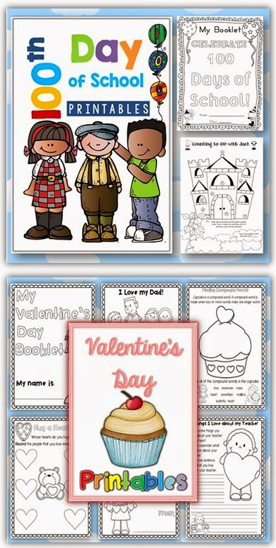 100th Day of School and Valentine's Day Printables