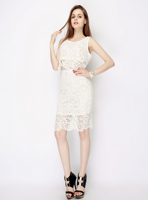 Dolce Crochet Lace Top and Skirt