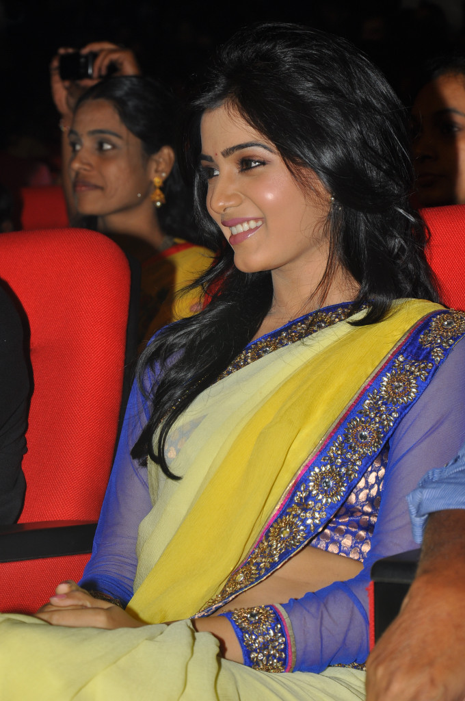 samantha saree at dookudu audio launch, samantha spicy saree hot photoshoot
