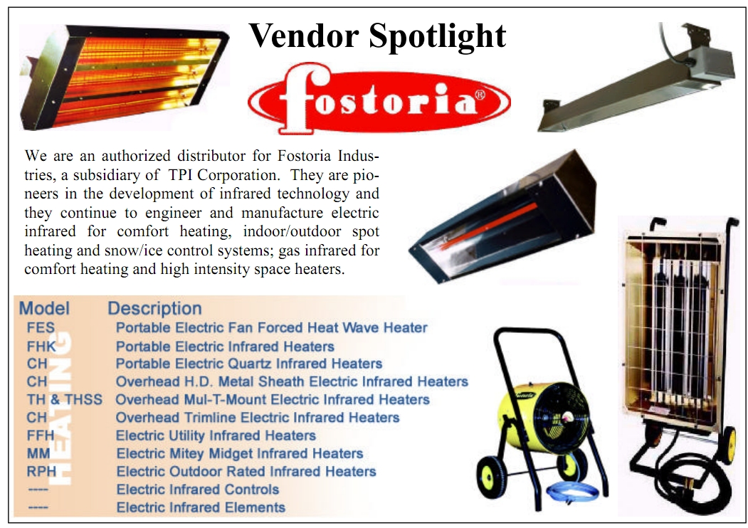 we are an authorized distributor for fostoria industries and markel products tpi corporation they are pioneers in the development of infrared technology - Fostoria Heaters