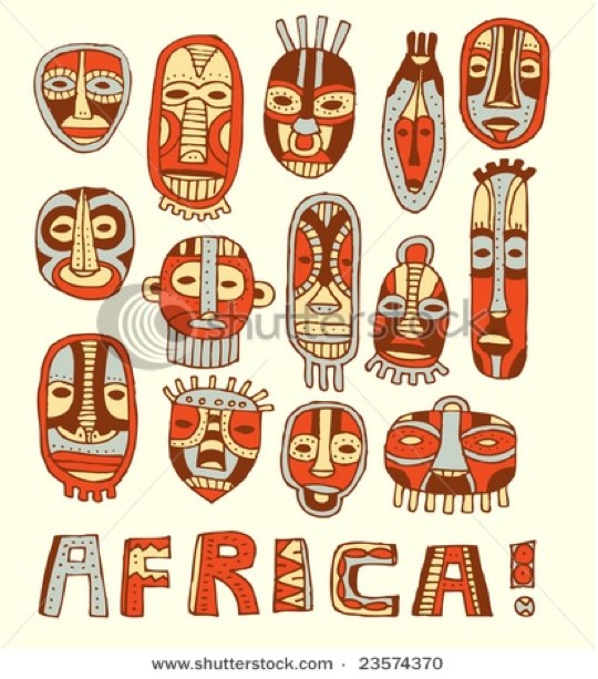 African Masks Drawings Draw Half of The Mask