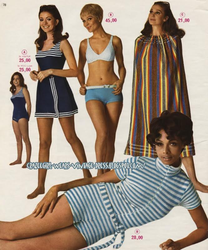 Swimsuit -magasin Decré - Nantes - 1968 60s 1960 swim suit