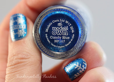 Christmas Snowflake Nail Art with Models Own Candy Blue