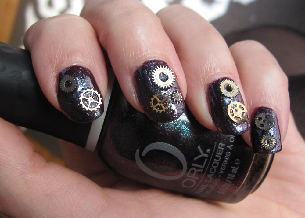Glitter is my crack notd steampunk nails w orly cosmic fx notd steampunk nails w orly cosmic fx galaxy girl gears cogs nail art prinsesfo Images