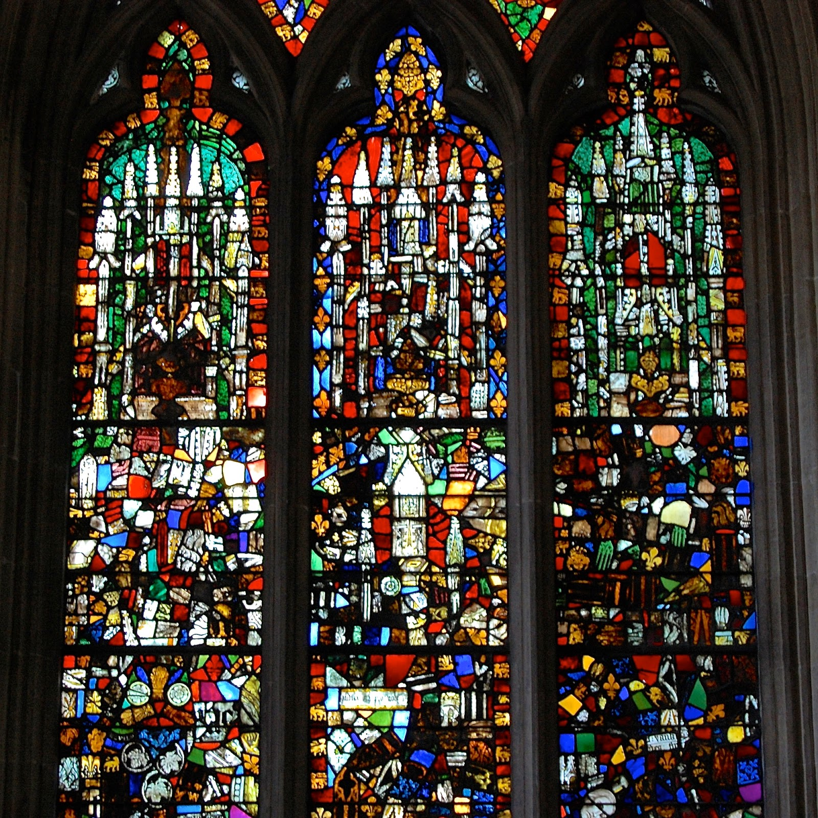 Jumbled stained glass windows in Wells Cathedral