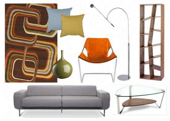 Hvh interiors modern retro living room moodboard mondays for Orange green and brown living room