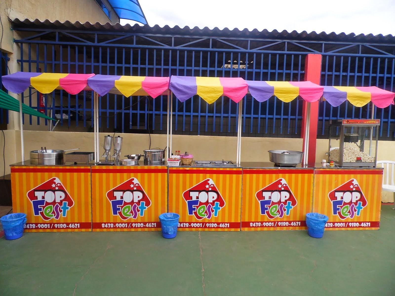 Barraquinhas de Batata Frita, Churros, Cachorro quente, Algodão doce e Pipoca.