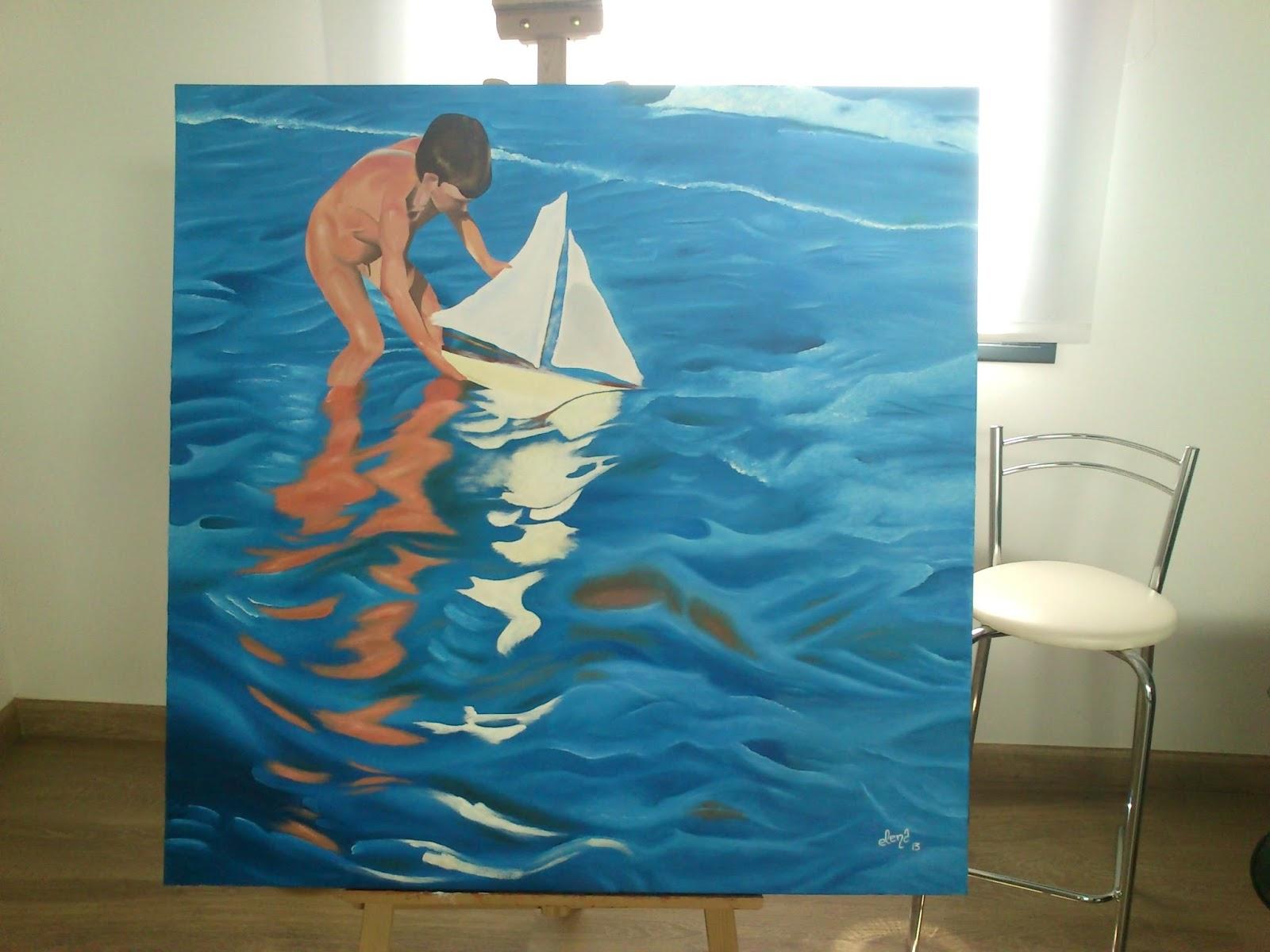Niño jugando con barco de Sorolla