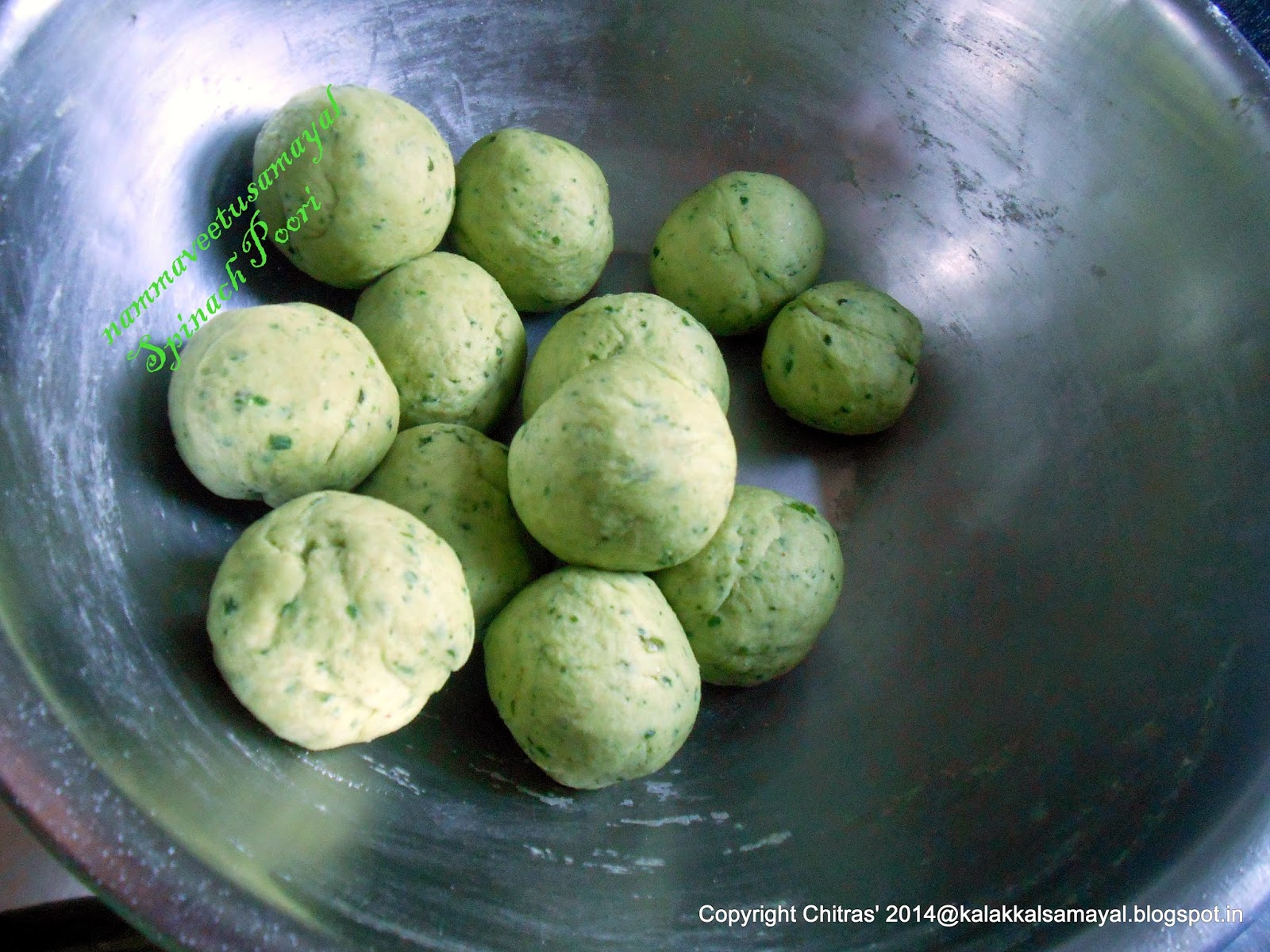 Spinach poori dough