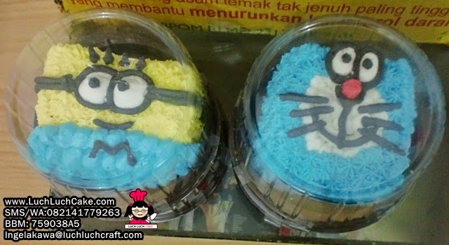 mini cake minion dan doraemon