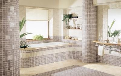 Piastrelle e rivestimenti con mosaici ceramici per un bagno moderno