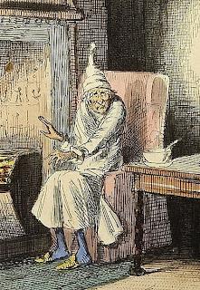 ebenezer scrooge, a christmas carol, charles dickens, illustration, john leech