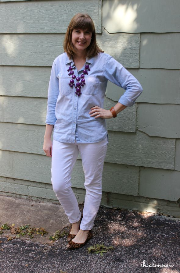 White Jeans with Chambray for Fall Transition | www.shealennon.com