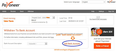 withdraw payoneer ke bank lokal