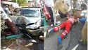 Motorista derruba poste e atropela gari