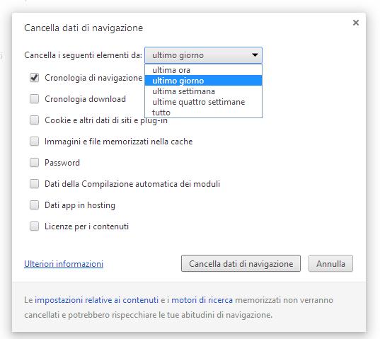 Come eliminare cronologia browser Google Chrome, siti memorizzati nuova scheda...