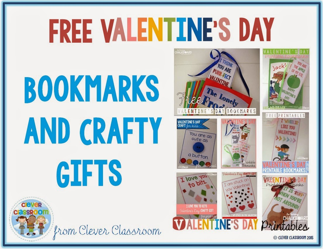 Free Valentine's Day printables via Clever Classroom's blog
