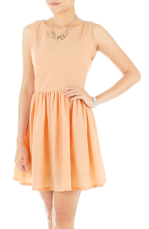 Dainty Ruched Flare Prom Dress – Pastel Orange
